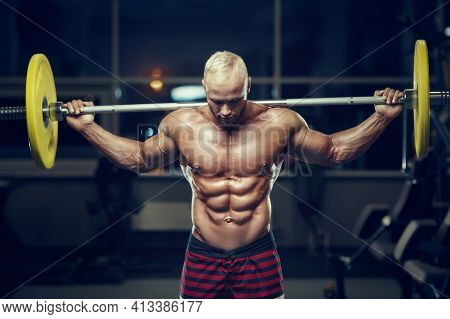 Fit Man Training Muscles At Gym.