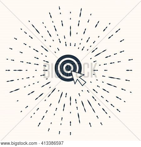 Grey Target With Arrow Icon Isolated On Beige Background. Dart Board Sign. Archery Board Icon. Dartb