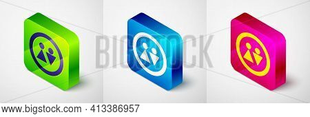 Isometric Toilet Icon Isolated On Grey Background. Wc Sign. Washroom. Square Button. Vector