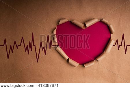 World Health Day. International World Heart Day Concept. Craft Paper As Heart Shape With Beat Rate A