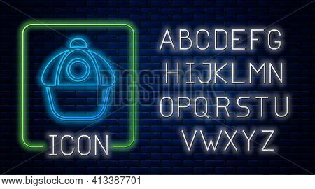 Glowing Neon Baseball Cap Icon Isolated On Brick Wall Background. Sport Equipment. Sports Uniform. N