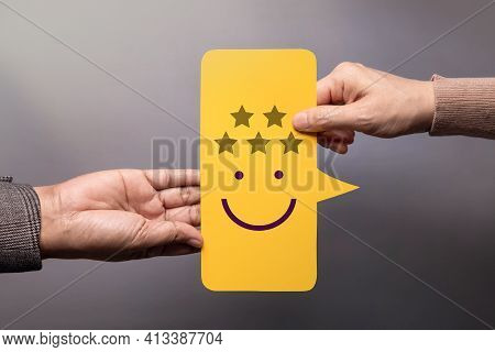 Customer Experience Concept. Happy Client Giving A Five Star Rating And Smiling Face Feedback On Bub