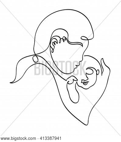 One Line Drawing Of Mom Embracing New Born Kid. One Continuous Line Drawing Of Parent And Child Love
