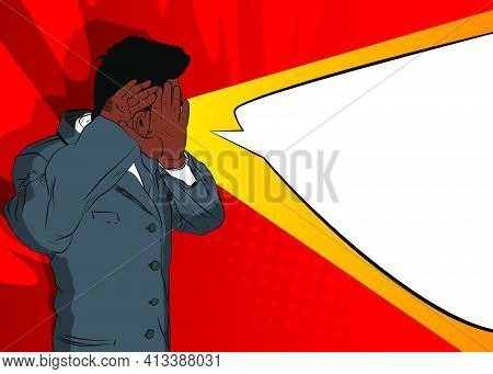 Afro-american Businessman Holding His Hands To His Ears And Listening. Comic Book Cartoon Concept Of