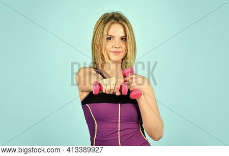 Be Strong. Healthy Young Fitness Woman Doing Exercises With Dumbbells. Sporty Woman In Sportswear Ho