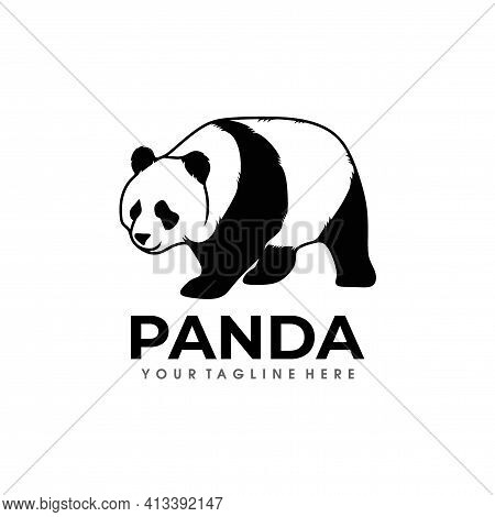 Panda Logo Vector .cute Panda Logo Design Vector Illustration