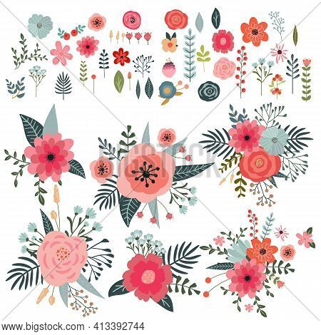 Set Of Flowers And Floral Elements Isolated On White Background. Sets Of Bouquets Of Flowers. Beauti