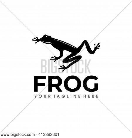 Frog Logo Design Silhouette Vector Illustration. Black Frog Logo Vector
