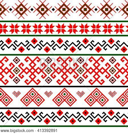 Bulgarian Balkan National Folklore Embroidery Style Red, White, Green And Black Ornamental Seamless