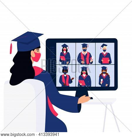 A Virtual Graduation Ceremony For Online Distance Students. Graduates In Protective Masks Celebrate