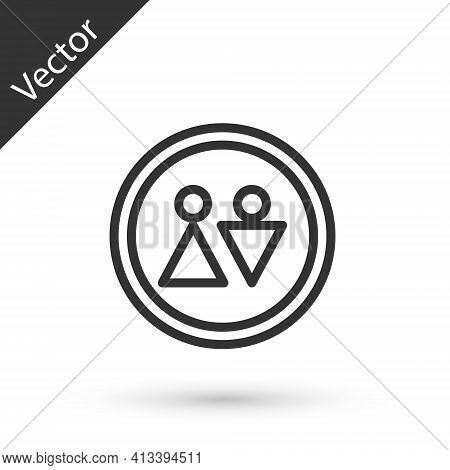Grey Line Toilet Icon Isolated On White Background. Wc Sign. Washroom. Vector