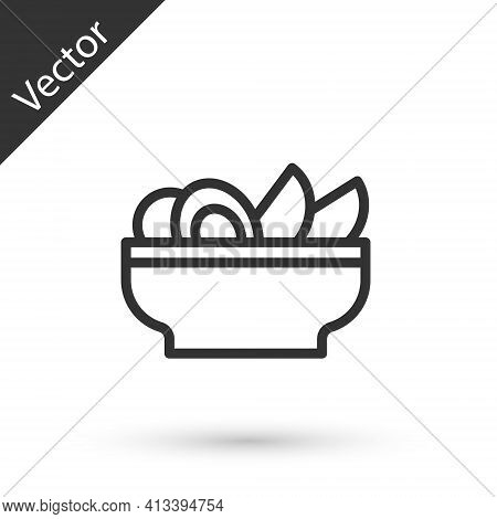 Grey Line Nachos In Plate Icon Isolated On White Background. Tortilla Chips Or Nachos Tortillas. Tra