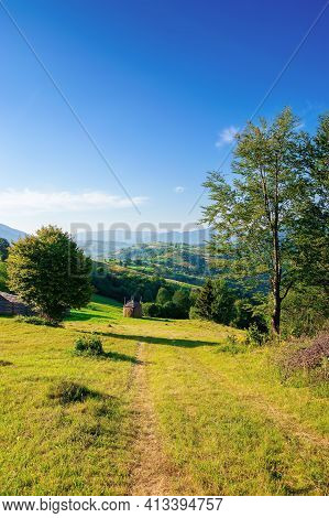 Mountainous Rural Area In The Morning. Beautiful Remote Agricultural Landscape In Summer. Trees And