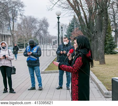 Dnipropetrovsk, Ukraine -03.19.2021: Entrepreneurs Deliver A Speech At A Protest Against The Lockdow