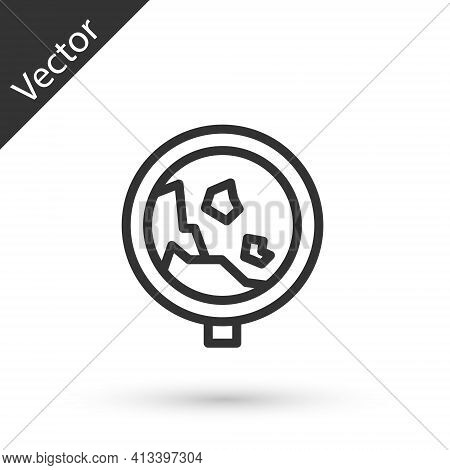 Grey Line Road Sign Warning Avalanche Rockfall Landslides Icon Isolated On White Background. Traffic