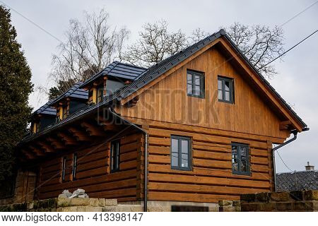 New Home In Village, Small Old Yellow And Brown Wooden House In Bohemian Paradise, Dark Tiled Roof,
