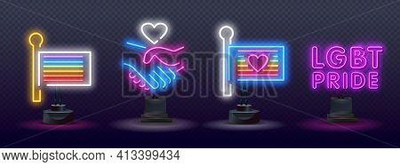 Pride Neon Text Vector Design Template. Lgbt Neon Icons, Light Banner Design. Lgbt Pride Symbols Neo