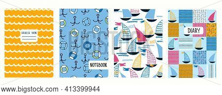 Cover Page Vector Templates With Sailing Boats, Waves, Anchors, Lifesavers. Headers Isolated And Rep