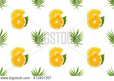 Fresh Orange Fruit Slices With Green Palm Leaf On White Background. Seamless Pattern With Fruits, Tr
