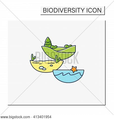 Ecosystem Diversity Color Icon.ecosystems Variety , By Their Nature And Number, Living Species Inter