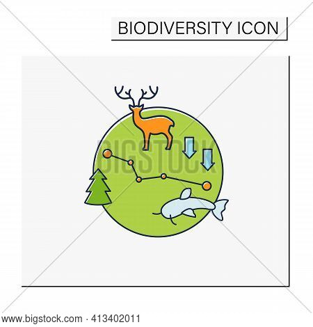 Biodiversity Loss Color Icon.losing Different Kinds Flora, Fauna.disappearance Species Can Disrupt E