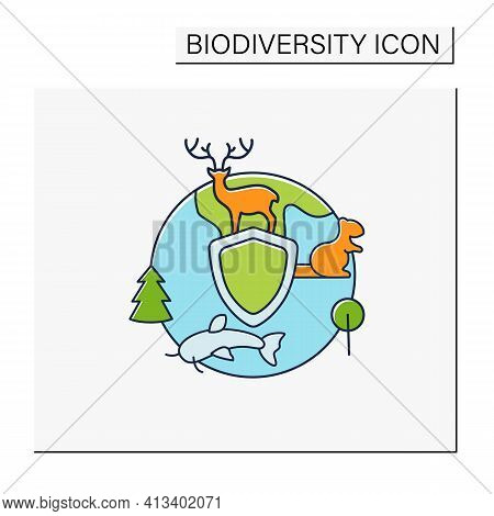 Biodiversity Protection Color Icon.limiting Deforestation.reduce Air Pollution.fighting Global Warmi