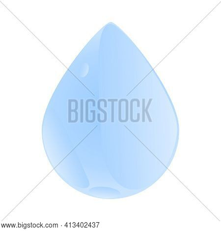 Drop Isolated On White Background. Blue Water Drop Icon. Droplet Logo Shape. Single Blue Shiny Water