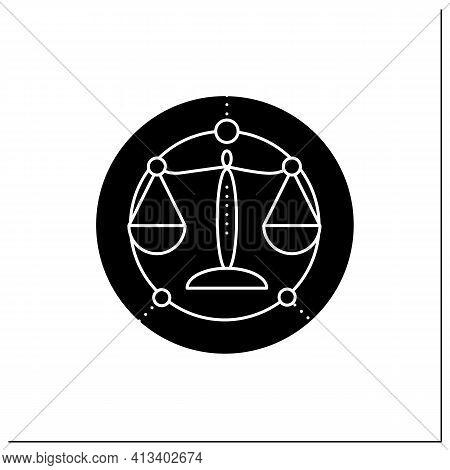 Libra Glyph Icon. Seventh Fire Sign In Zodiac. Scales Birth Symbol. Mystic Horoscope Sign. Astrologi