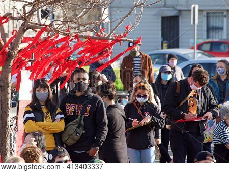 Oakland, Ca - Feb 13, 2021: Unidentified Participants At The Love Our People Heal Our Communities Vi