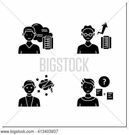 Information Overload Glyph Icons Set. Consists Of Cognitive Dissonance, Comparative Research Method,