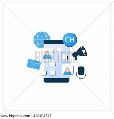 Drop In Audio Chat App Flat Icon. Communication Application With Friends. Voice Communicate Concept.