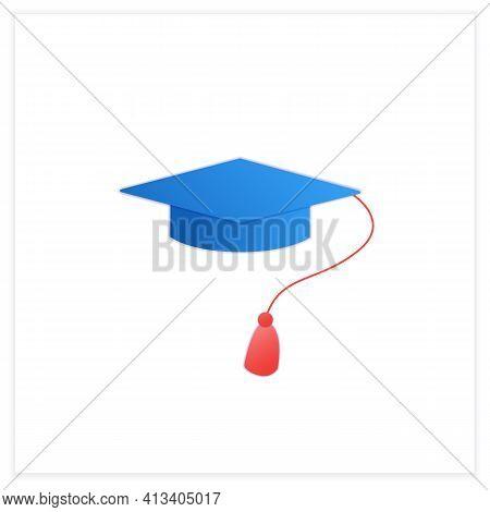 Graduation Cap Flat Icon. Special Graduate Hat With Tassel. Holiday Costume. Graduate Uniform.gradua