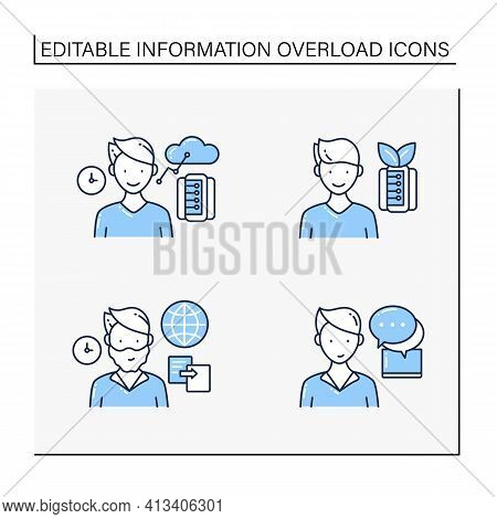 Information Overload Line Icons Set. Consists Of Instant Messaging, Data Duplication, Information Ec