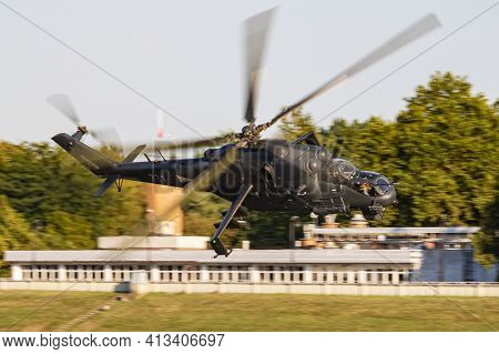 Szolnok, Hungary - August 20, 2019: Hungarian Air Force Mil Helicopters Mi-24p Hind 331 Military Att