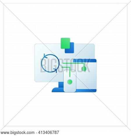 Files Syncing Flat Icon. Synchronizing All Documents In Different Devices. Conecting To Different De