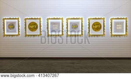 Picture Gallery With Paintings With Nft Inscriptions Hanging On The Wall. Cryptoart Concept. 3D Rend