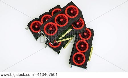 Several Three-dimensional Video Cards Lie On A White Background. Gpu Adapter. 3D Render Illustration
