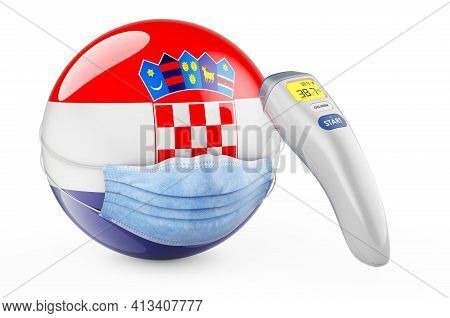 Croatian Flag With Medical Mask And Infrared Electronic Thermometer. Pandemic In Croatia Concept, 3d