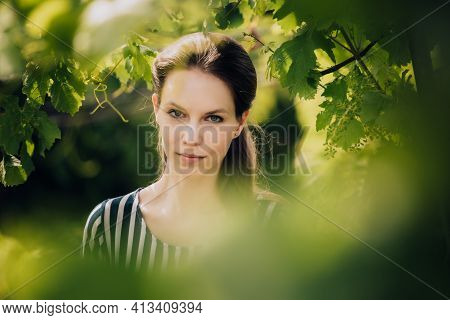 Portrait Of Young Beautiful Woman In Middle Of Vineyards. In Background Sun Shines Through Vegetatio