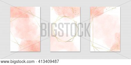 Collection Of Abstract Dusty Pink Liquid Watercolor Background With Golden Lines And Frame. Pastel M