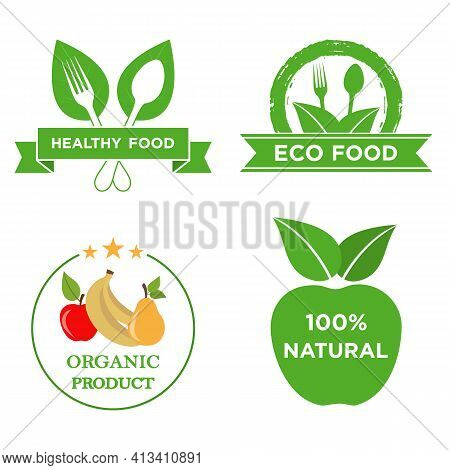 Healthy Food Icons. Natural Product Elements. Fresh, Organic, Gluten Free, 100% Premium Quality, Hea