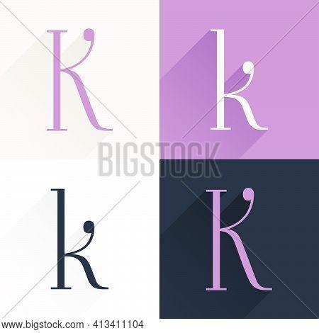 K Letter Condensed Serif Font Set. Perfect To Use In Elegant Branding, Luxury Logo, Wedding Invitati