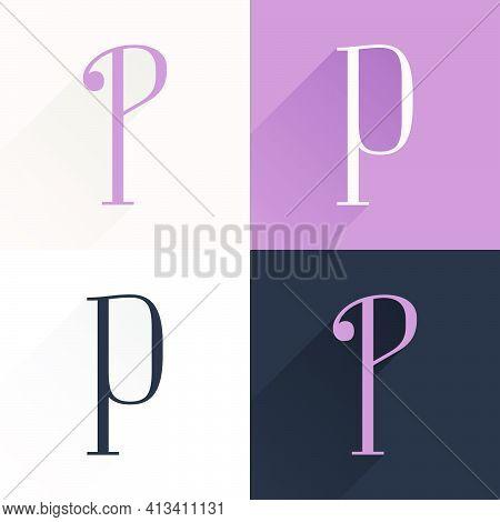 P Letter Condensed Serif Font Set. Perfect To Use In Elegant Branding, Luxury Logo, Wedding Invitati