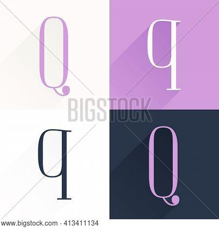 Q Letter Condensed Serif Font Set. Perfect To Use In Elegant Branding, Luxury Logo, Wedding Invitati
