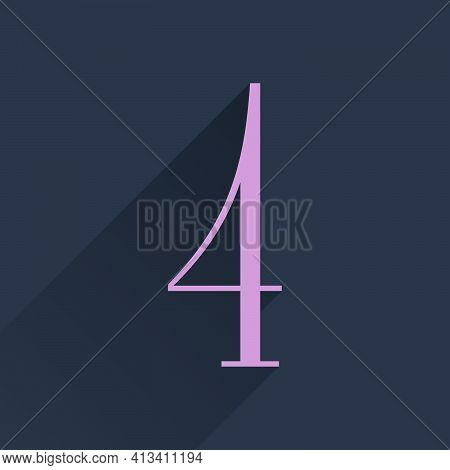 Number Four Condensed Serif Logo. Perfect To Use In Elegant Branding, Luxury Label, Wedding Invitati