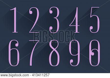 Condensed Serif Numbers Set. Perfect To Use In Elegant Branding, Luxury Label, Wedding Invitation, C