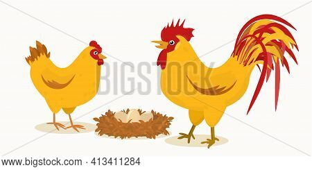 Illustration Of A Pair Of A Rooster And A Hen Next To A Nest With Eggs.