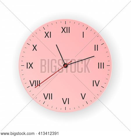 Vector Light Red Clock With Light Shadow, Show What Time Is It