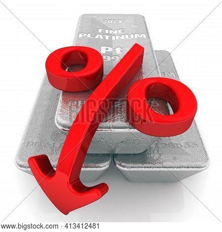 Decrease In The Value Of Platinum. Three Ingots Of 999.9 Fine Platinum And One Red Percentage Symbol