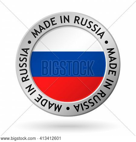 Vector Silver Sign With Flag Of The Russia And Sign Made In Russia